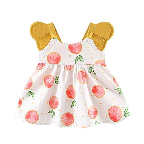 EvansampToddler Baby Girls Kleid, Kleid Für Tochter Obst Peach Printing Sommer Prinzessin Kleid(Rosa,80/7/8) (Prinzessin Peach Trikot)