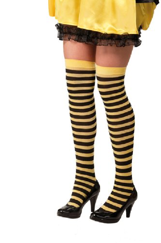 Strümpfe Kostüm Hexe Zubehör - Karneval Zubehör Ringel-Strümpfe schwarz-gelb zum Hexe Biene Kostüm