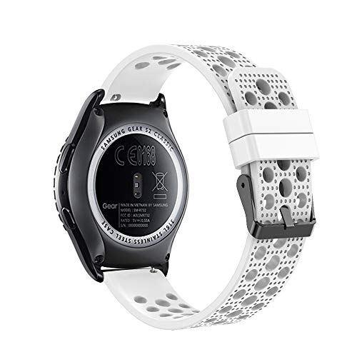 Fit-power - Correa de Repuesto para Reloj Inteligente Samsung Gear Sport/Samsung Gear S2 Classic/Huawei Watch 2 Watch/Garmin Vivoactive 3/Garmin Vivomove HR (20 mm), Breathable White