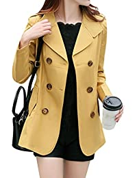 Yasong Women's Girls' Classical Long Sleeve Double Breasted Slim Fitted Wind Coat Jacket Short Spring Trench Coat