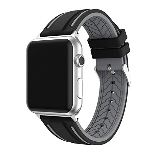 VRTUR Armband Band Ersatzarmband Uhrenarmband Wechselarmband Smartwatch ZubehöR Zweifarbiges Silikonarmband Mit Blumenmuster (,Grau)