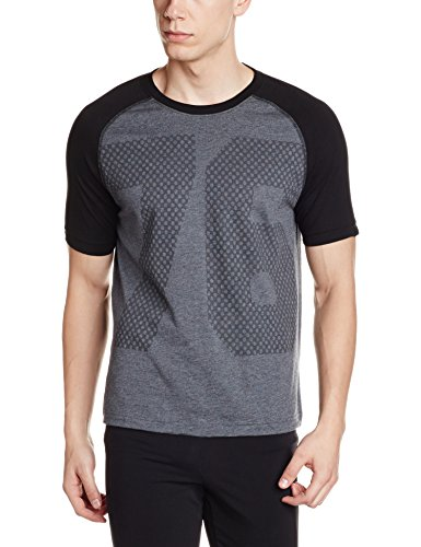 Jockey Men's Round Neck Cotton T-Shirt (8901326170335_2728_X-Large_Black and Team Grey)