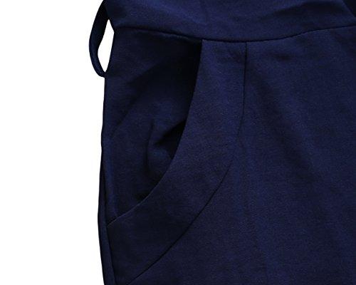 La Vogue Femme Robe Crayon Vintage Moulante au Genou 3/4manche Col Rond Ceinture Bleu