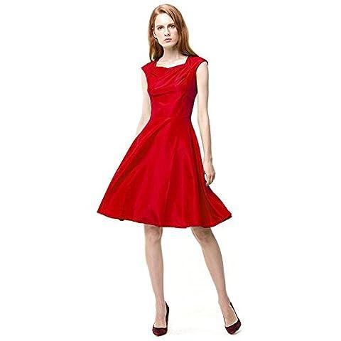 GBDSD Printemps Et Eté Femmes Slim Waist Robe Sans Manches Robe , rose red , s