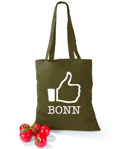 Artdiktat Baumwolltasche I like Bonn Olive Green