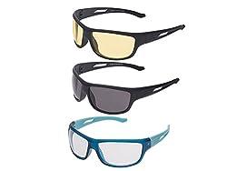 Vast UV Protected Wrap Around Unisex Sunglasses (NT+BHJ+BC+YY 60 Transparent)