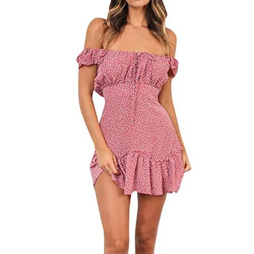 Sommer Damen Schulterfreies Dots Kleid Retro 2019,  Knielang neckholder Kurzarm Rüschen Elegant Freizeit Bequem standkleid showsng (XL, Pink) Pink Strappy Kleid