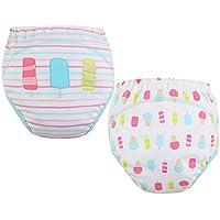 [Ice] bebé de los pantalones de entrenamiento Pañal higiénico de la ropa interior del pañal del paño 15.4-26.4Lbs 2 PCS