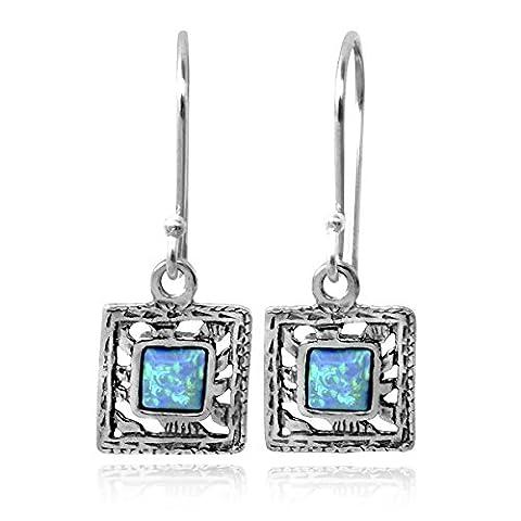 Petite Square Earrings Created Blue Fire Opal 925 Sterling Silver Earring