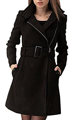 SODIAL (R)Femmes long Parka laine tranchee Manteaux d'hiver manteaux d¡¯hiver a fermeture eclair avec des ceintures (noir) S
