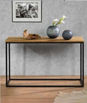 Kaheku Konsolentisch Sideboard ARTAX Metall Schwarz Tischplatte Eiche gewachst (Sideboard Metall)