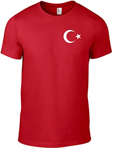 Sol's/ Fassbender-Druck T-Shirt Türkei Mond Stern/Motivshirt / Funshirt / 6 Farben/S-XXL (Rot XXL) (Türkei Shirts)