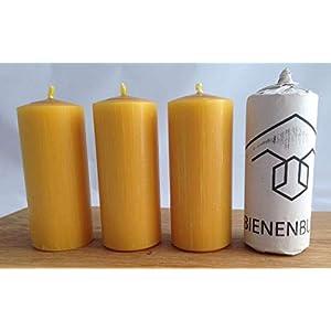 4 Stück Kerzen, 12 x 5 cm, Stumpenform, aus 100% Bienenwachs, handgemacht, direkt vom Imker aus Deutschland, Bayern, von…