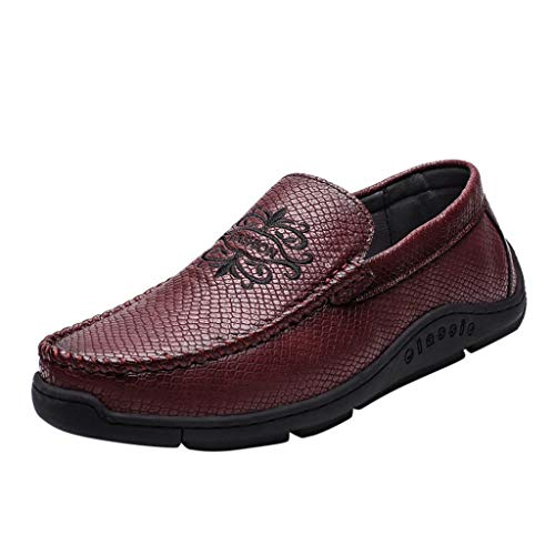 Uomo Pelle Mocassini Scarpe da Guida Slip On Morbida Piatto Scarpe da Barca Pantofola di Moda Scarpe Pigre da Uomo in Stile Inglese, Casual