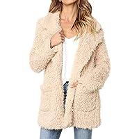 Keepwin Frauen Winter Warm Solide Plüsch Mantel, Lässige Mode Dicke Kunstpelz Jacke Mantel Parka Outwear