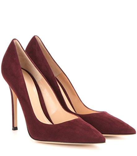 EDEFS Scarpe col tacco donna - Elegante High Heels 10 CM - Tacco a Spillo - Chiuse Davanti Scarpe Burgundy
