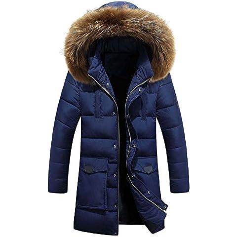 Hombre Parka Con capucha Chaqueta Invierno Largo Abrigo Azul marino XXXL