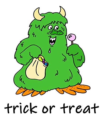 Friendly Halloween Trick Or Treat Green Monster Horns School Comp Book 130 Pages: (Notebook, Diary, Blank Book) (Halloween Theme School Composition Books Notebooks)