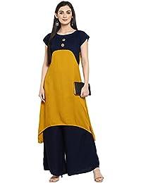Ziyaa Women's Mustard Color Flared Rayon Solid Kurta(ZIKURY2177)