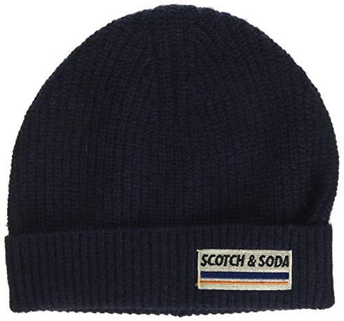 Scotch & Soda Herren Rib Knit Beanie in Soft Wool-Blend Baseball Cap, Blau (Night 0002), One Size (Herstellergröße: OS)