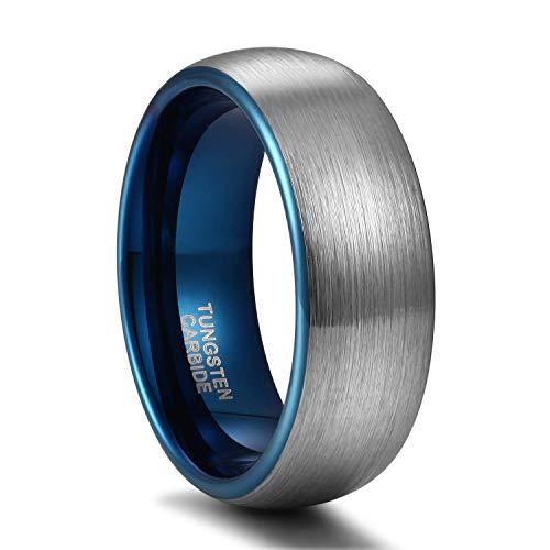 Titaniumcentral 6mm/8mm Wolframcarbid Ringe Gebürstet Trauringe Verlobungsringe (Blau(8mm), 65 (20.7))