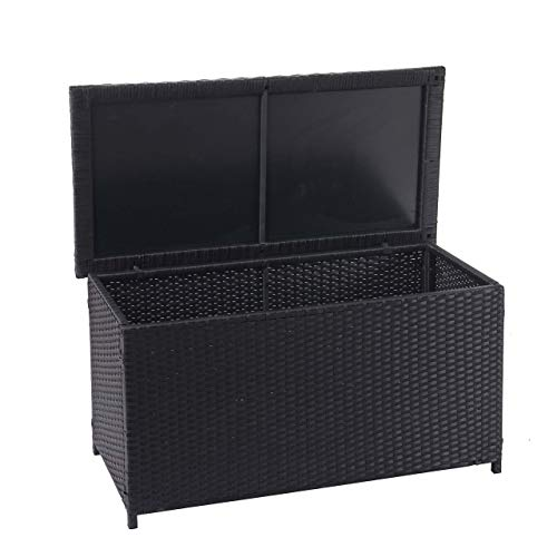 Mendler Poly-Rattan Kissenbox HWC-D88, Gartentruhe Auflagenbox Truhe ~ Basic schwarz, 51x100x50cm 170l