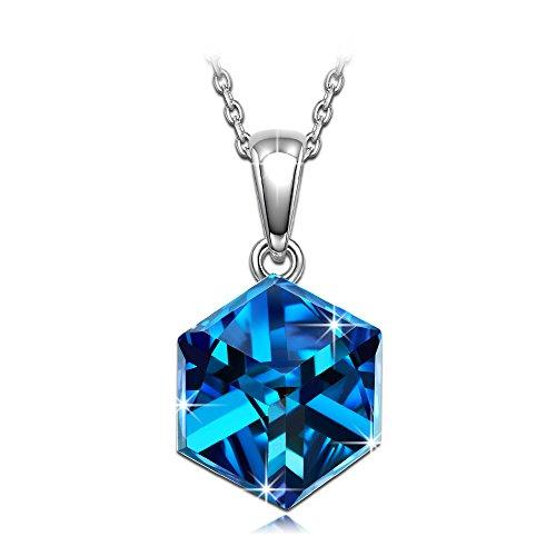 Alex perry donna collana 925 sterline argento cristalli di swarovski blu cubo regali gioielli per natale compleanno anniversario san valentino madre moglie figlia ragazza lei