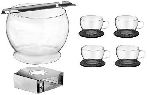 feuerzangenbowleset Bohemia Cristal 093 006 114 SIMAX Feuerzangenbowleset 11 teilig, 1 Bowlekörper ca. 3,5 ltr. aus hitzebeständigem Borosilikatglas + 4 Bowletassen ca. 250 ml aus hitzebeständigem Borosilikatglas + 4 Filzuntersetzer (100 % Polyester) + 1 Feuerzange aus Edelsthal +       1 Stövchen aus Edelstahl