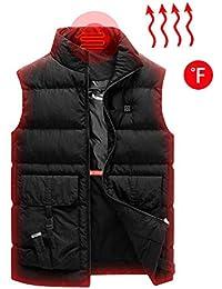 Unisex Beheizte Weste,Riou 2018 Upgrade Leichte Lsolierte USB Elektrische Kohlefaser Heizung Beheizte Beheizbare Vest F/ür Outdoor Radfahren Skifahren Camping Steppweste