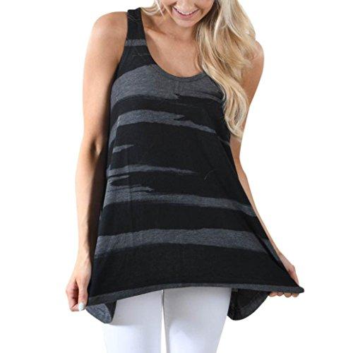 LONUPAZZ Débardeurs sans Manches Femmes Grande Taille Casual Camouflage Crop Top Gilet Chemisier Blouse Cami Top Noir