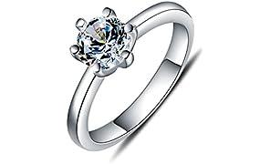 WHCREAT 925 bague en argent sterling pour les femmes, Simple Style classique Zircon cubique mariage/bague de fiançailles, taille 49 à 58 en option