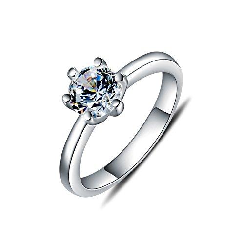 WHCREAT Damen 925 Sterling Silber Ringe für Frauen, einfache klassische Stil Zirkonia Hochzeit/Verlobungsring, Größe 51 - Größe 11 Damen-verlobungsringe,