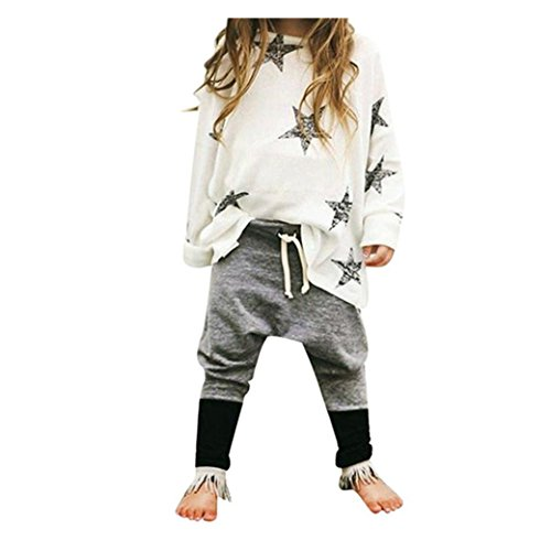 Bekleidung Longra 1Set Kinder Mädchen Outfit Kleidung Sterne Langarm-t-Shirt + lange Hosen Kinderkleidung Set(2-6Jahre) (90CM 2Jahre) (Floral Hosen-socken)