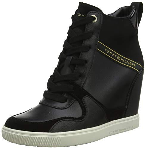 TOMMY HILFIGER Damen Dressy Wedge Sneaker, Schwarz (Black 990), 39 EU