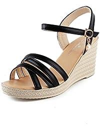 DM&Y 2017 La primavera y el verano de moda pendiente con sandalias de tac¨®n alto de las sandalias principales de los pescados femenina . black . 35