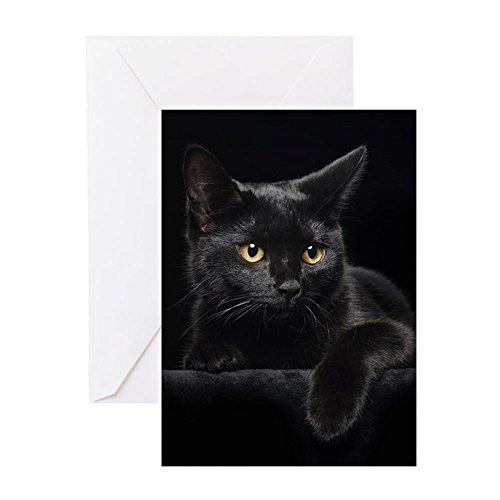 CafePress - Schwarze Katze - Grußkarte, Notizkarte, Geburtstagskarte, blanko Innenseite matt