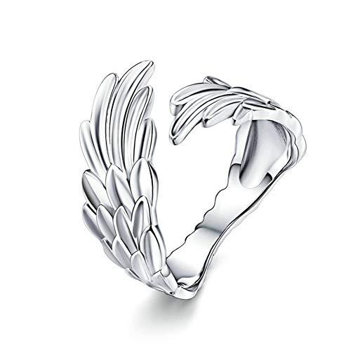 925 Sterling Silber Klassische Federn Elf Flügel verstellbar Mode Ringe für Frauen Verlobung Valentinstag,Silver ()