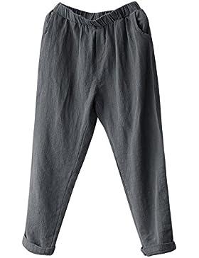 DOGZI Pantalones Mujer Tallas Grandes Lino Harén Pantalones Holgado Suelto Pantalones Casual Invierno Polainas...