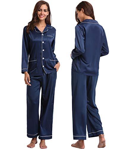 Abollria set pigiama da donna in raso pigiama lungo con maniche lunghe in seta camicia da notte pigiama donna per tutte le stagioni