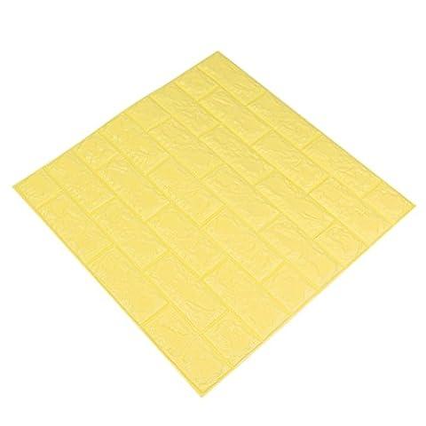 ANPI 3D Ziegelstein Tapete, DIY 3D Ziegelstein Muster Wand, Wand Aufkleber Selbstklebende Schalen Stock Tapete für Hauptdekor, Gelb