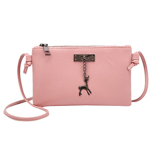 Frauen Kitz Hirsch Abendtasche Umhängetasche Damen Mädchen Retro Handtasche Schultertasche Messenger Mini Kleine Tasche (Rosa)