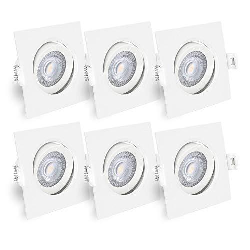 linovum® LED Deckeneinbaustrahler 6er Set schwenkbar eckig, Kabelklemme integriert - Einbauspots weiss 230V 5W warmweiß 2700K