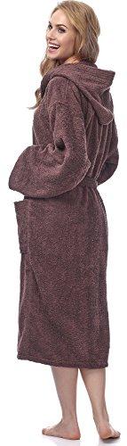 Ladeheid Damen Frottee Bademantel aus 100% Baumwolle LA40-102 Braun (D15)