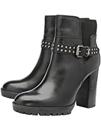 969ba86fc7 Ravel whatley Ladies Black Leather Studded Stacked Block High Heeled Ankle Boots  Womens Biker Booties w…
