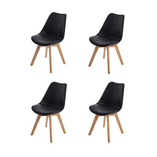 szimmerstühle mit Massivholz Eiche Bein, Küchen stühle mit Gepolsterter für ESS und Wohnzimmer - Schwarz ()