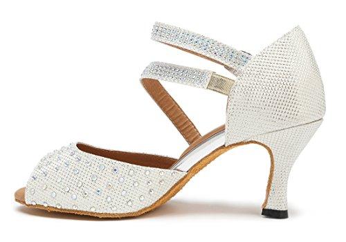 TDA , Damen Durchgängies Plateau Sandalen mit Keilabsatz 7.5cm White ...