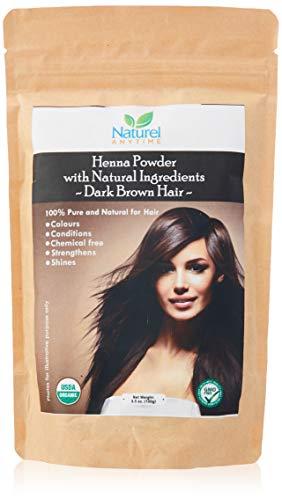 Henna para cabello de color marrón oscuro 100% puro, fortalece, da brillo, libre de químicos, certificado...