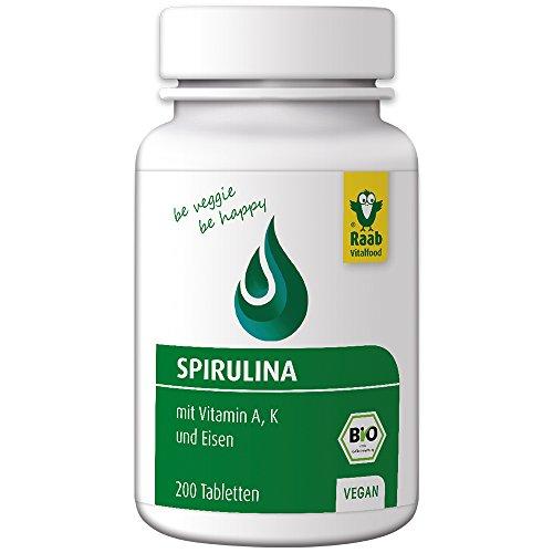 Raab Vitalfood Bio Spirulina-Tabletten, 200 Stück à 400 mg, Naturland-zertifiziert, natürlich vegan, mit Eisen, Vitamin A und Vitamin K, ohne Zusätze, Mikro-Algen, 1er Pack (80 g)