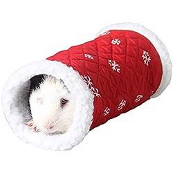 Pequeña Mascota Animal túnel Juguete Invierno Caliente Polar Tubo escondite Cama Juego túnel para hámster/Rata de ratón (Rojo)