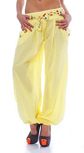 Moda Italy Pantaloni Harem con cintura Pantaloni a sbuffo Colori Uni Pantaloni a palloncino Pantaloni alla turca Harem Pantaloncini Estivi Yoga taglia unica Giallo